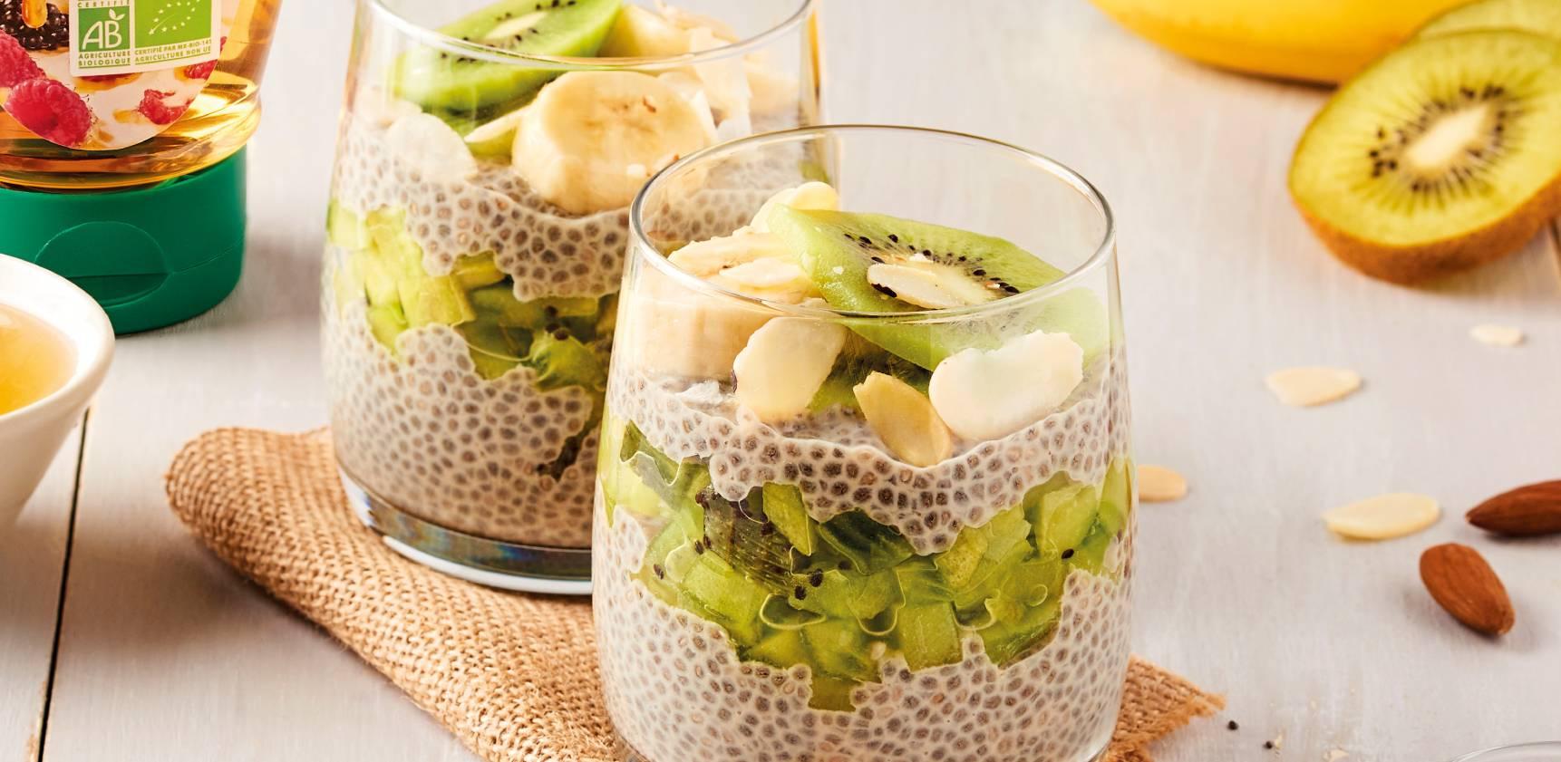Mes Recettes recette végétarienne dessert gourmand image chia pudding fruits frais banane kiwi diététique healthy