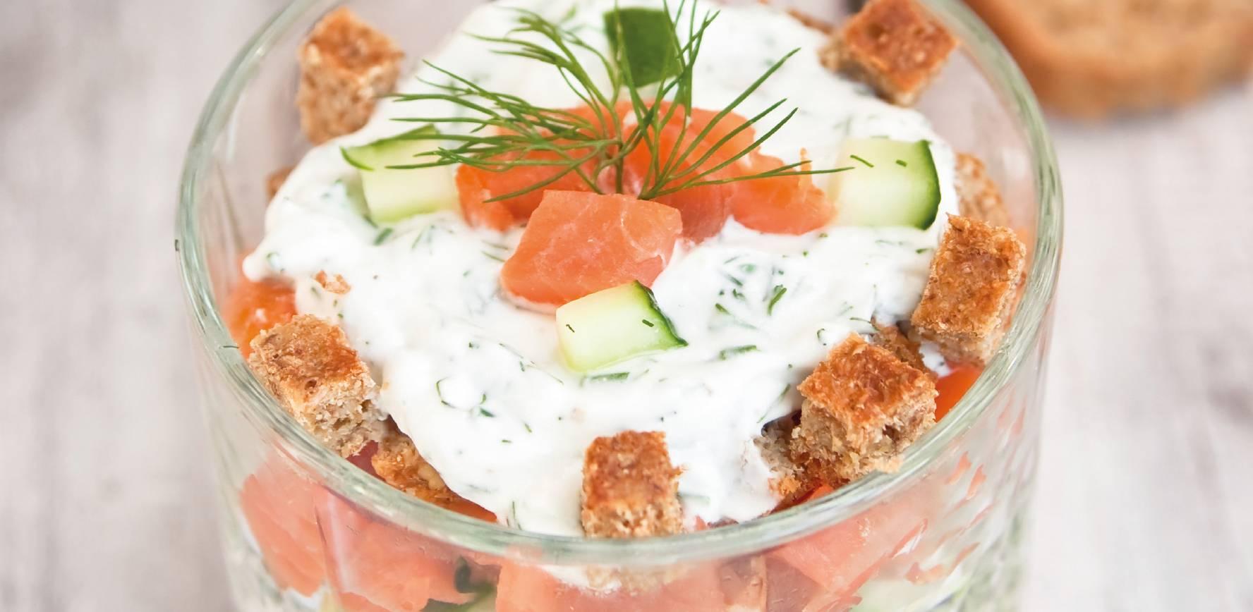 Mes Recettes facile express rapide image verrine fromage frais saumon concombre ciboulette