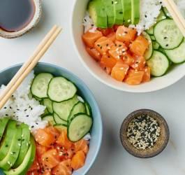 Recette green poke bowl, recette poke bowl saumon
