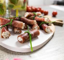 visuel recette facile roulés jambon chèvre apéritif ou entrée